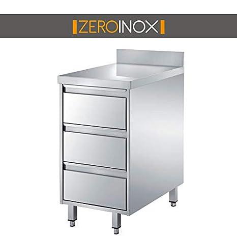 ZeroInox CASSETTIERA 3 CASSETTI ACCIAIO INOX AISI 304 CON ALZATINA ...