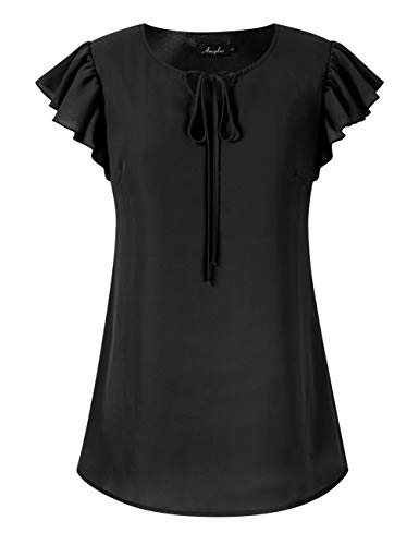 Women's Chiffon Blouse Plus Size Sleeveless Bow Tie Flowy Cute V-Neck Tops Black 2XL