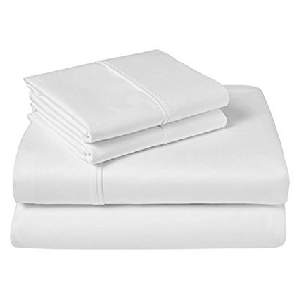 Luxury Hotel Soft Cotton Sheets White Solid 600 Thread Count 4-Piece King Bed Sheet Set , Sateen Solid, Fitted Sheet Fit up to 25 Inches Deep Pocket. (25 Inch Sheet)