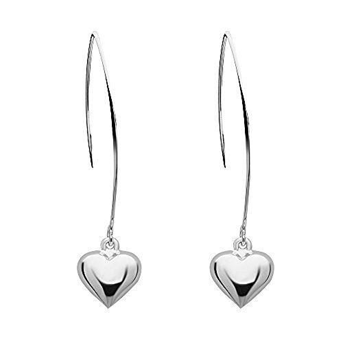 - 925 Solid Sterling Silver Dangling Heart Threader Drop Earrings - Long Dangle Minimalist Formal Jewelyr