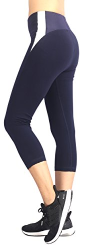Neonysweets Mujeres Pantalones para Hacer Yoga Corriente Elástico Aire Libre jogging Negro/Blanco
