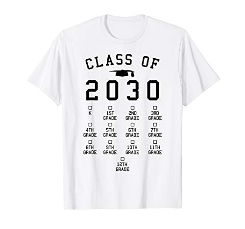 Class of 2030 Grow with me shirt with space for -