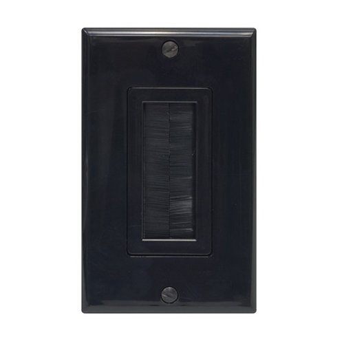 Single Gang Decora-Style Home Theater Cable Pass Through Brush Wall Plate, Black