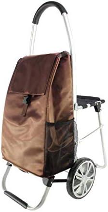 CHUNSHENN カート ポータブルシート手押し式、ブラウン、60 * 100センチメートルと折りたたみトロリー コンテナキャリー 買い物カゴ 運搬
