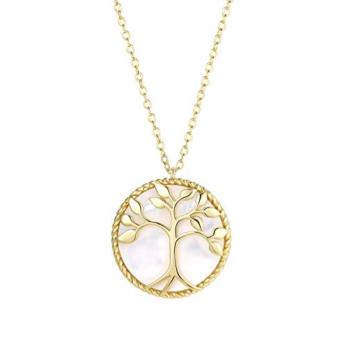 KISSPAT 14K Gold Round Pendant Necklace Tree of Life Mother of Pearl Shell Fashion Jewelry for Women Girls (Gold Pendant Designs For Men With Price)