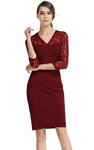 Buenos Ninos Women's V-Neck 3/4 Sleeve Lace Patchwork Pencil Midi Cocktail Dress Wine Red L