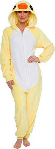Silver Lilly Slim Fit Animal Pajamas - Adult One Piece Cosplay Duck Costume (Yellow, Medium)