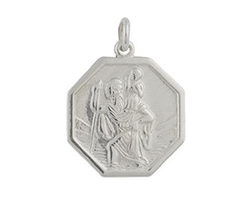 9ct or blanc taille M octogonale St Christophe Pendentif