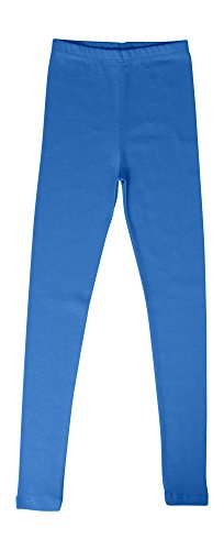 Cotton Rib Leggings - CAOMP Girls'%100 Organic Cotton Leggings for School or Play (11-12, Denim Blue)