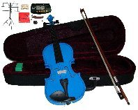 Merano 16'' Blue Viola with Case and Bow+Extra Set of Strings, Extra Bridge, Shoulder Rest, Rosin, Metro Tuner,Black Music Stand, Mute