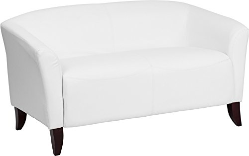 Emma + Oliver White Leather Loveseat with Cherry Wood Feet ()