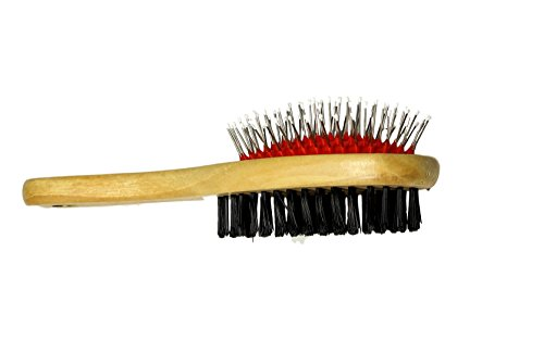 2 Sided Large Dog Brush - Pin and Bristle Pet Grooming by bogo - Long Haired Santa