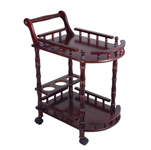 Crafts A to Z Hand-carved Wooden Service/ Bar Trolley