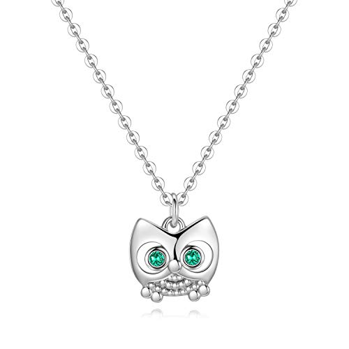 (Wisdom Owl Necklace for Women Gifts - White Gold Plated Dainty Pendant CZ Owl Necklace for Women Girls, Tiny Wisdom Owl Necklace Best Baby Girl Gifts Teen Boy Gifts Teen Girl Gifts Baby Gifts)