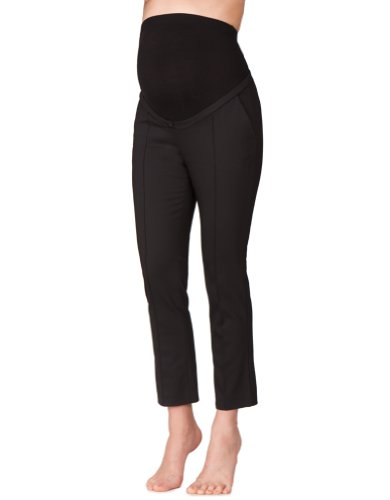 Seraphine Women's Tailored Cropped Over Bump Maternity Pants in Black Size 12