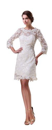 herafa p32928-10 Cocktail Dresses Gorgeous 3/4 Sleeve Sleeveless Rows of Lace Long Sheath White