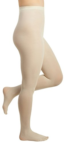 Off White Tights - Women's Control Top Opaque Comfort Tights (Small (B), Ivory)