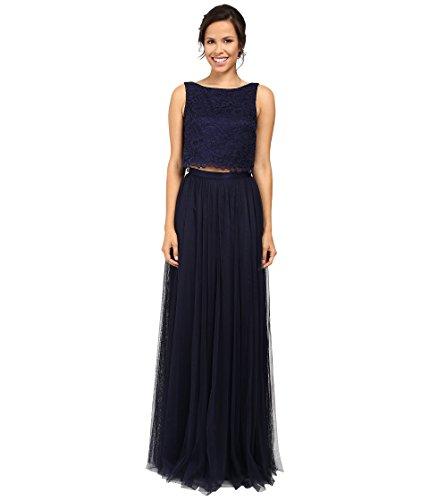 Indigo Floral Skirt (Donna Morgan Women's Alexis - Lace Top & Skirt Indigo Dress)