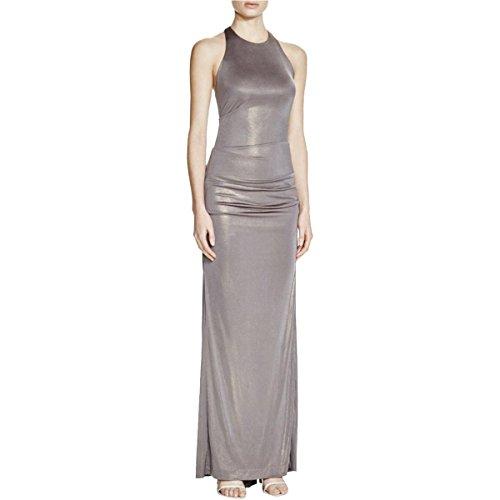 Nicole Miller Womens Metallic Ruched Evening Dress Gray 4