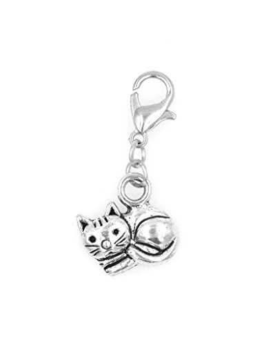 Curled up Kitty Cat Clip On Charm Kitten Perfect for Necklaces and Bracelets (ZC 101D) (Curled Small Cat)