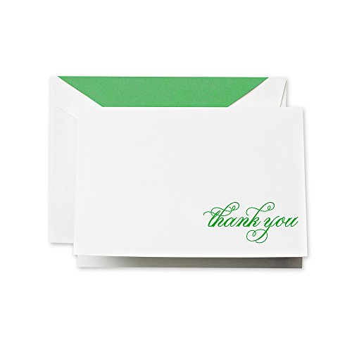 Crane & Co. Hand Engraved Spring Green Thank You Note (CT1407)