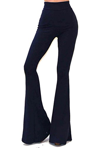 VIVICASTLE Women's Boho Solid Hippie Wide Leg Flared Bell Bottom Pants (Small, Navy)