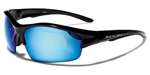 GRATIS Gafas UNISEX Incluye One UV400 ARCTIC Protección COMPLETO esquí vibranthut Anti sol Conducir BRILLANTE de AZUL Espejo Ciclismo Rectángulo Size Brillo NEGRO Correr Bolsa aHCHYqw