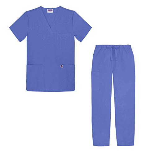(Sivvan Unisex Classic Scrub Set V-neck Top / Drawstring Pants (Available in 12 Solid Colors) - S8400 - Ceil Blue - XS)