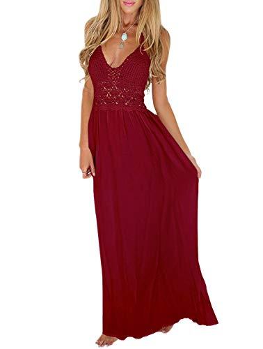 LILBETTER Women's Beach Crochet Backless Bohemian Halter Maxi Long Dress (M, Wine Red)