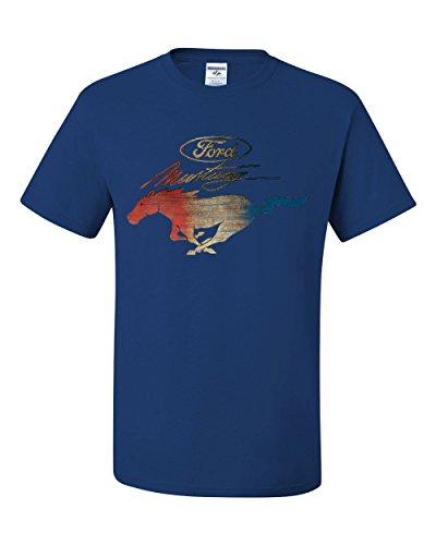 - Ford Mustang Logo T-Shirt GT Shelby Cobra Boss 302 Tee Shirt Royal Blue L