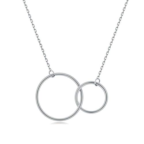 EVERU White Gold Plated Sterling Silver Interlocking Double Circle Pendant Necklace Infinity (White-Gold-Plated-Silver)
