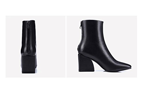 wdjjjnnnv Fall/winter party Head After the Zipper Naked Chunky Heels Boots Leather Women's Ankle Boots Shoes Solid Color 35 gZRvz