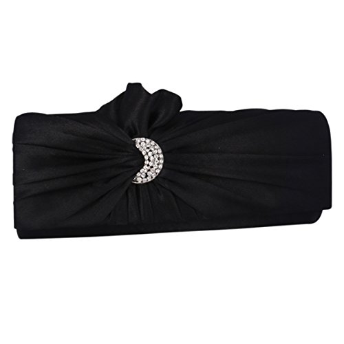 Black Pleated Satin Evening Womens Retro Bag Flower Bags Clutch Adoptfade zqp5wUXaa
