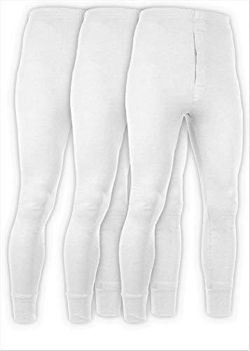 Andrew Scott Men's 3 Pack Premium Cotton Base Layer Long Thermal Underwear Pants (3 Pack -White, Medium)