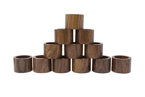 ShalinIndia Table Dinner Decoration Handmade Party Decor Wooden Napkin Rings Set of 12 For Daily Use Dinners Parties-Diameter 1.75 Inch