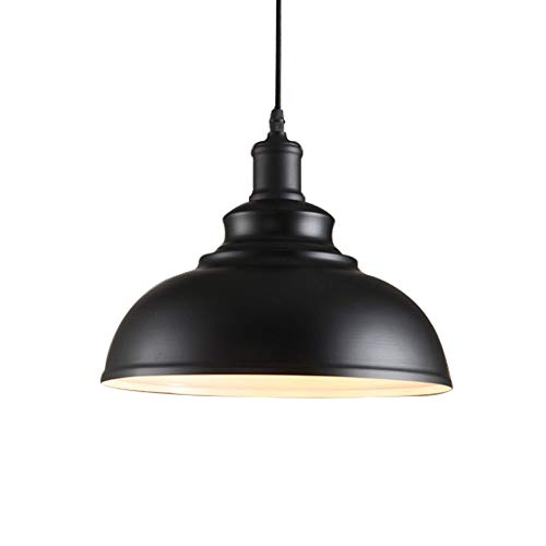 JINGUO Lighting One-Light Hanging lamp Vintage Black Dome Shade Pendant Light with White Inner Finish in Industrial Style for Warehouse Bar Garage 11.8 inch ()