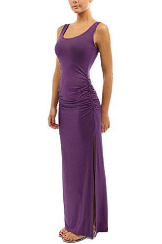 WIWIQS Women's Ruched Sleeveless Side Split Party Long Dress X-Large Purple (Sleeveless Dress Stretch)