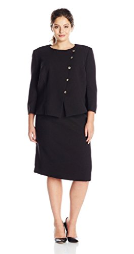 Tahari ASL Women's Plus-Size Dina Skirt Suit, Black, 24W