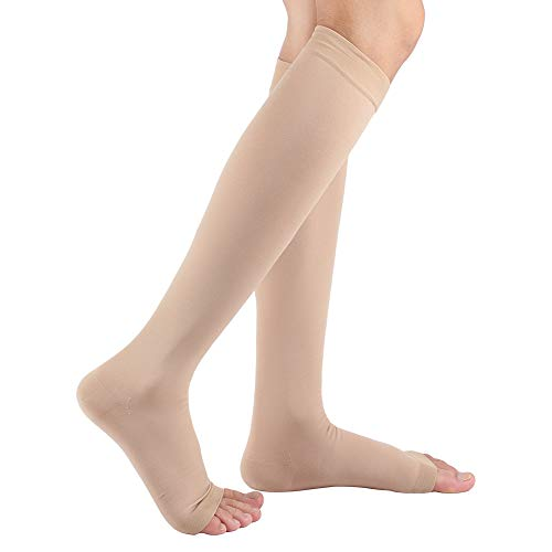 Premium Women's Open Toe Compression Socks, (20-30 mmgh) Toeless Knee High Length Compression Stockings Calf Sleeves for Swelling,Shin Splints,Varicose Veins,Edema, Maternity,Nurses