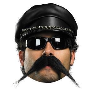 [Biker Mustache Costume Accessory] (Biker Halloween Costumes For Adults)