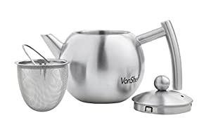 VonShef Satin Polish Stainless Steel Tea Pot with Infuser 50-Oz/1.5-Liter