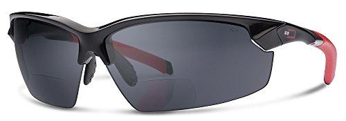 X1 Bifocal Reading Sunglasses by Dual Eyewear (Black Frame/Gray Lenses, 2.0)