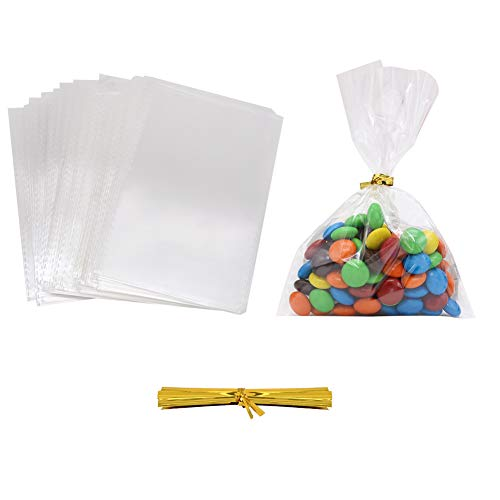 "HRX Package 300pcs Clear Plastic Treat Bags, 4"" x 6"" 1.4 Mil Small Cellophane Goodie Bags with 350pcs Gold Ties for Candy Buffet, Cake Pops, Chocolate ()"