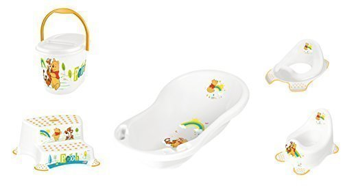 Disney Winnie Pooh blanco Serie de 5 Z Set Bañera + Ir al baño + WC Soporte + Banco dos etapas + Cubo de pañales Nuevo: Amazon.es: Bebé