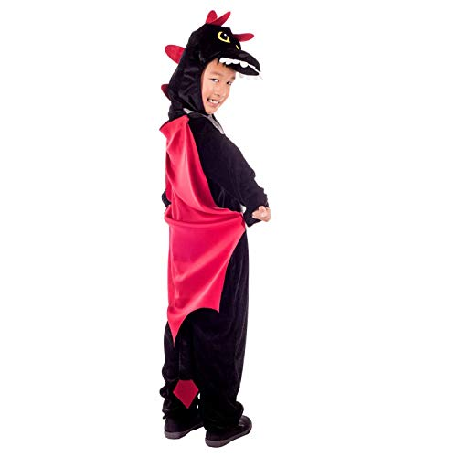 Kids Dragon Costume Childrens Black Hooded Onesie with Wings Outfit - Medium -