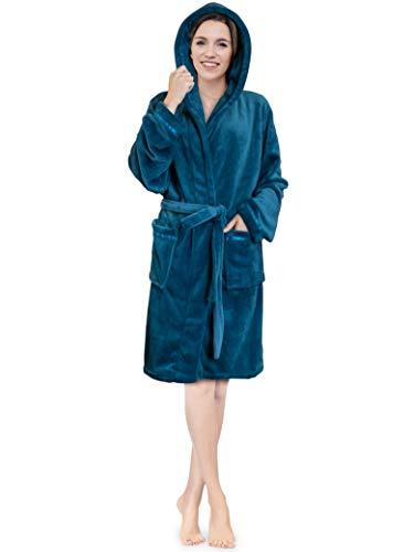 Women Hooded Fleece Robe with Satin Trim | Plush Short Spa Bathrobe with Hood Knee Length (Sea Blue)
