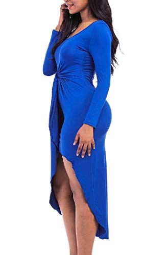 As1 Party Round Mini Neck Long Bodycon Coolred Dress Women Sleeve Nightclub qtwv8wY