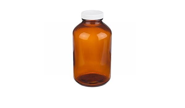 Wheaton boca ancha Packer bottlewith, polipropileno), color blanco con forro de poly-vinyl Tapa de Rosca, Ámbar Cristal: Amazon.es: Amazon.es