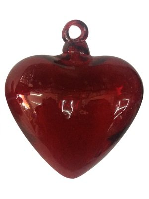 - Red Blown Glass Hanging Hearts Jumbo size (set of 3)