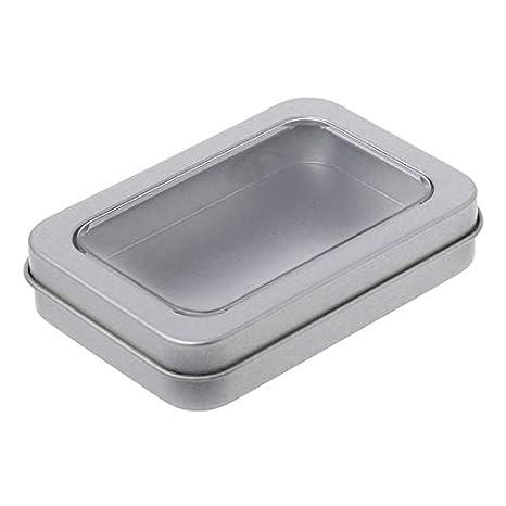 sjaiwq Ventana Superior de Metal Caja de Lata Plata Caja de Almacenamiento artesanía Kit Clara Supervivencia Moneda Clave Caramelo Tejido, B: Amazon.es: ...